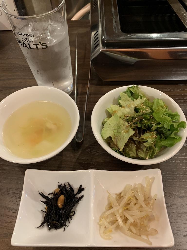 黒毛和牛焼肉 白か黒(カルビ&ハラミの副菜、ごはん、スープ、サラダ)
