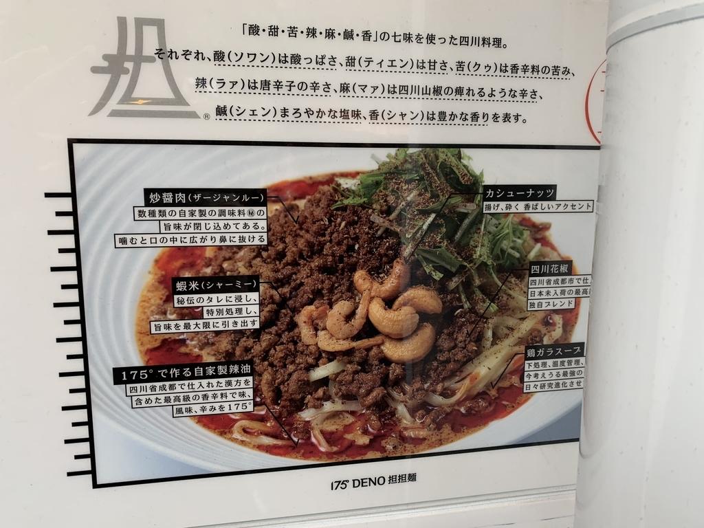 175°DENO担担麺 TOKYO(西新宿・担々麺)の食材の説明