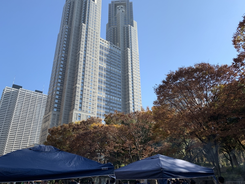 新宿中央公園でバーベキュー!「秋のソトメシフェア 手ぶらでBBQ」の時、水の広場から見えた都庁