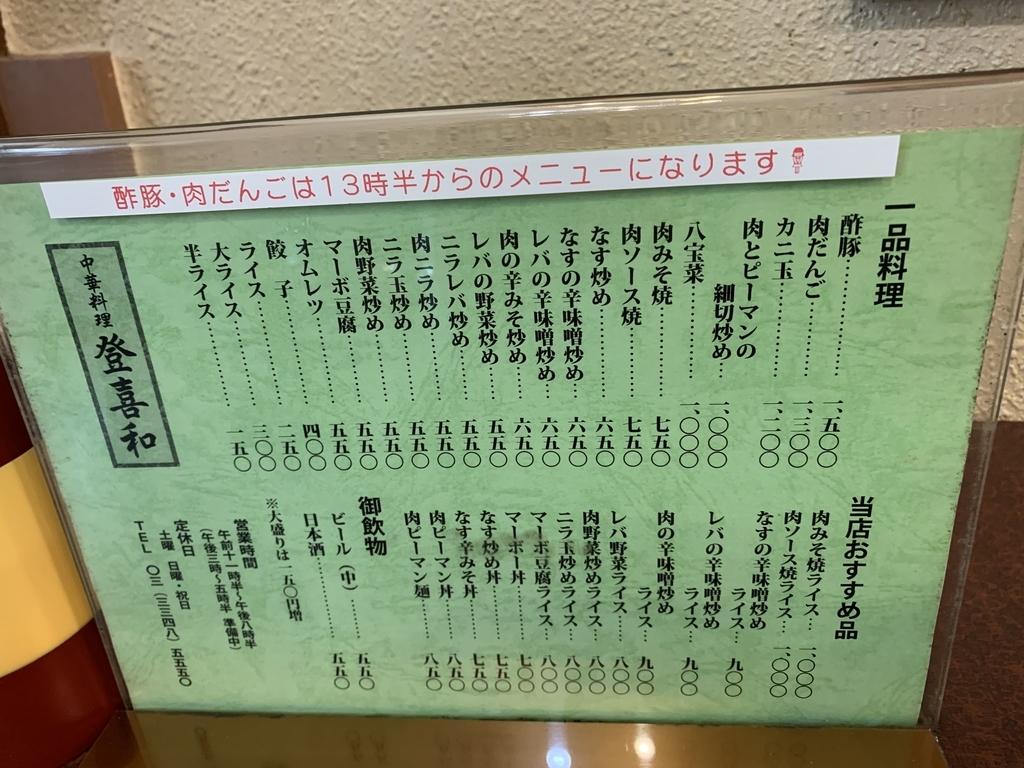 西新宿「登喜和」の一品メニュー