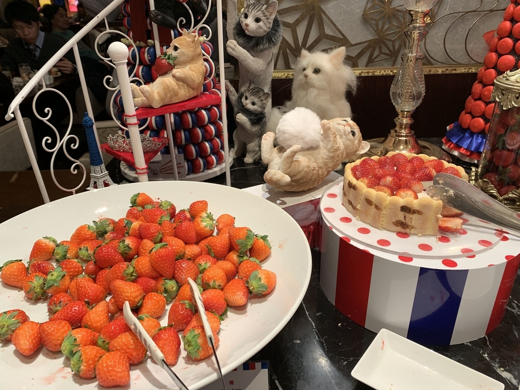 西新宿 ヒルトン東京 マーブルラウンジ「ストロベリー CATSコレクション」、いちごのデザートビュッフェ(いちごが山盛りになっているところ)