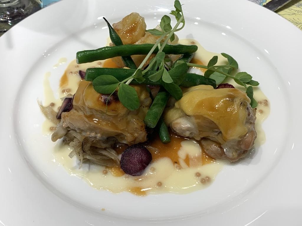 新宿の「レストラン墨繪(墨絵・すみのえ)」平日ランチ(にくランチ)、大山地鶏のゆず味噌焼き キャラメルとフレッシュマスタードソース