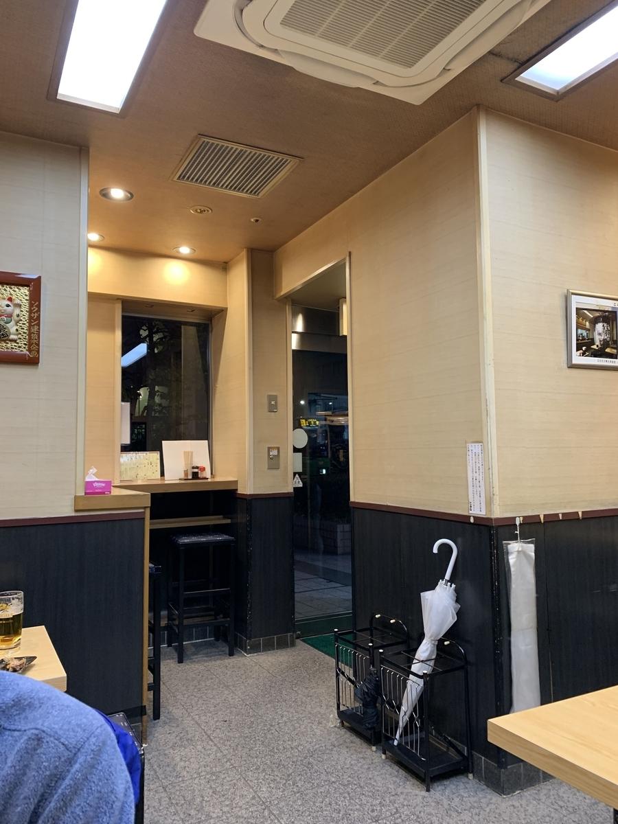 西新宿「やきとりもつやきこみね」のカウンター席