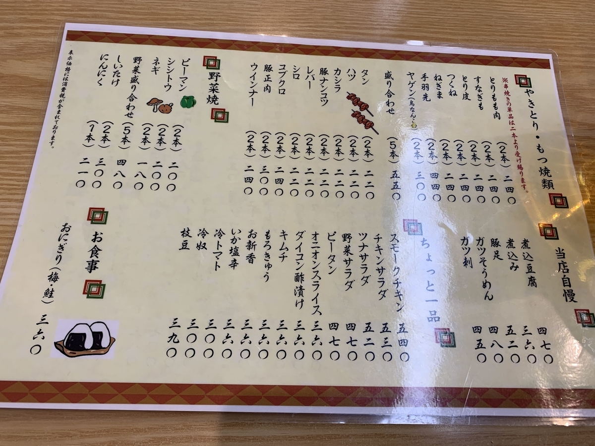 西新宿「やきとり もつやき こみね」のフードメニュー