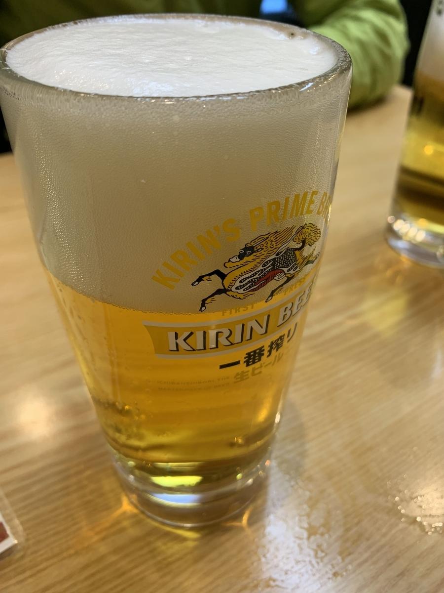 西新宿「やきとり もつやき こみね」の生ビール