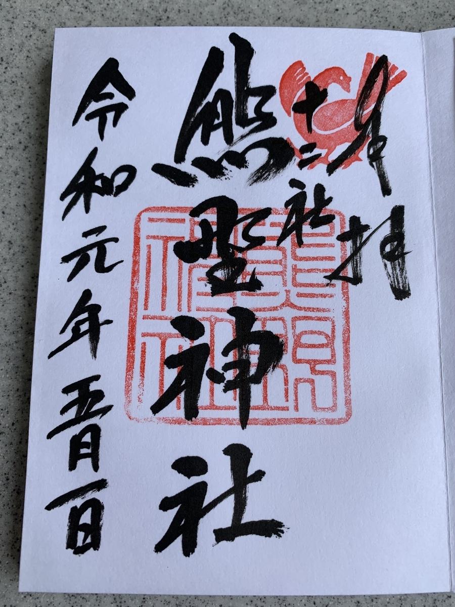 西新宿・熊野神社の令和元年御朱印