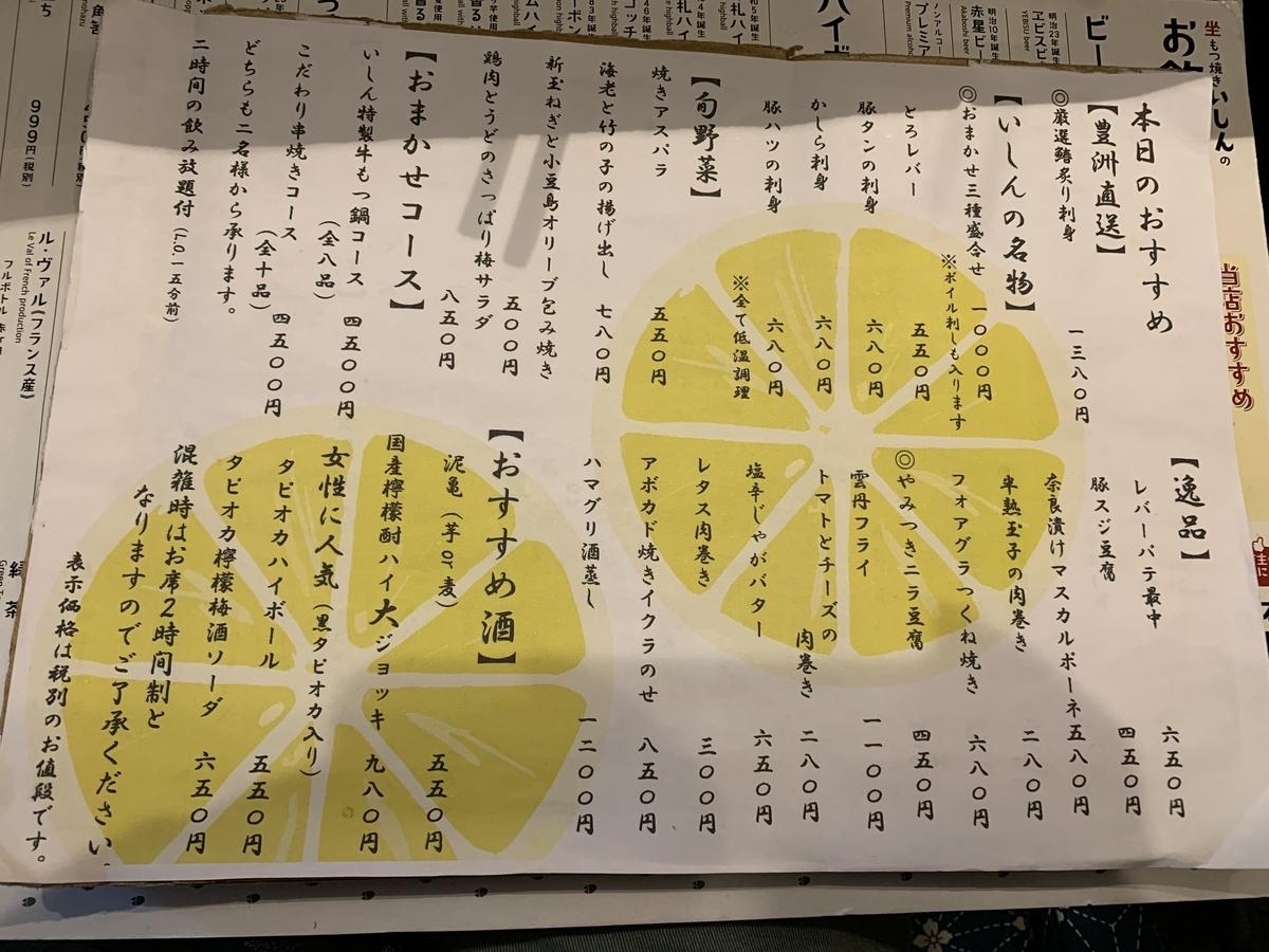 「坐もつ焼き いしん ード店」のピーマン【西新宿・居酒屋】