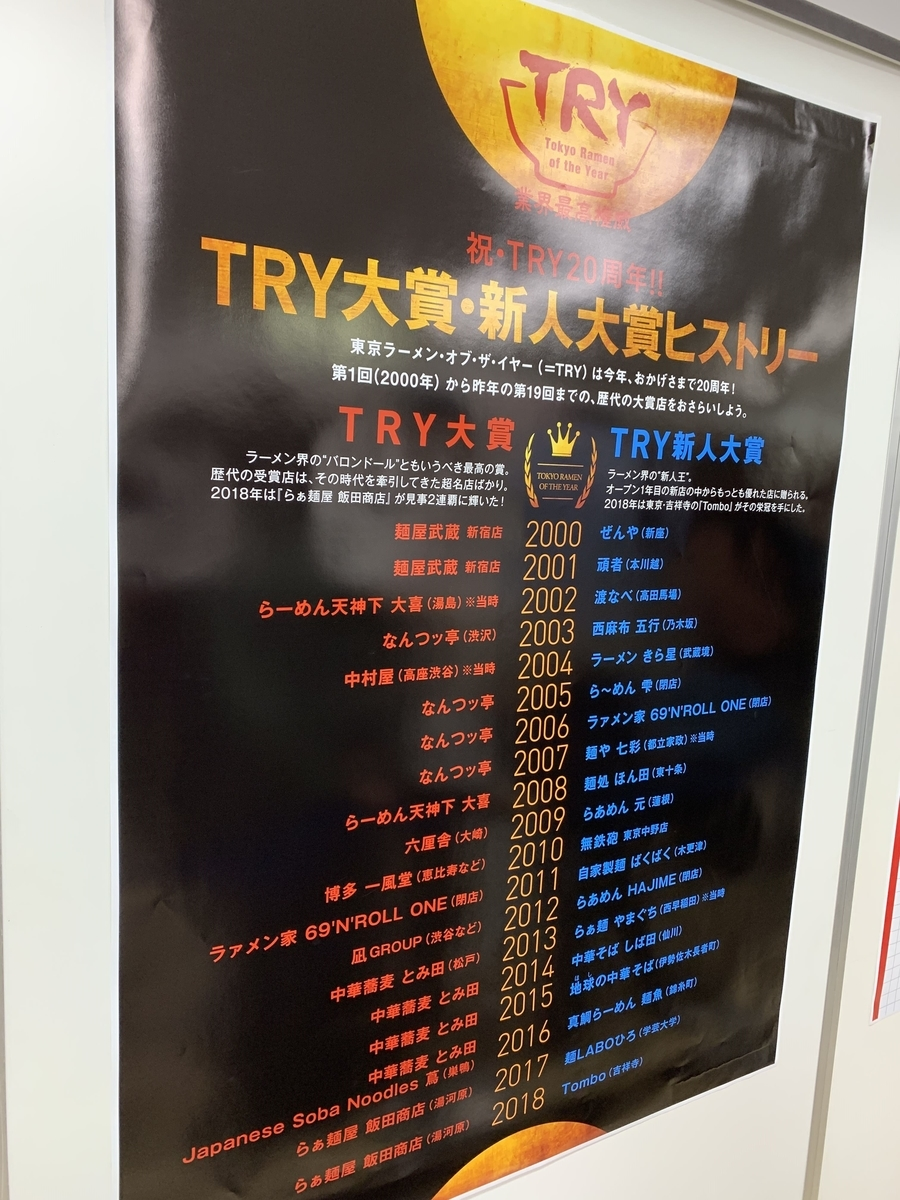 アワード創設20周年!「TRY ラーメン大賞で今まで受賞した店舗一覧