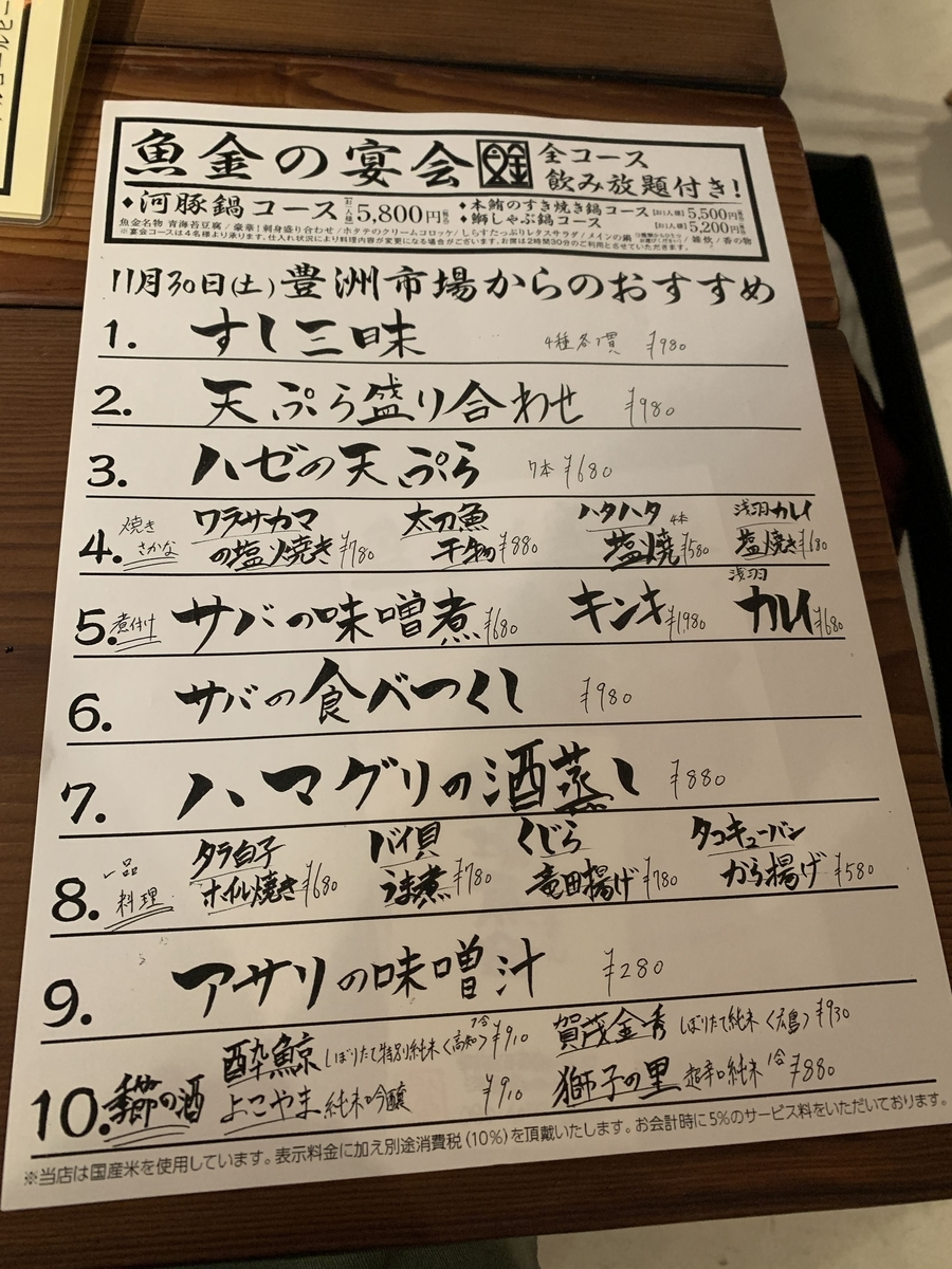 「飯場魚金」(西新宿)のメニュー(今日の豊洲市場からのおすすめメニュー)