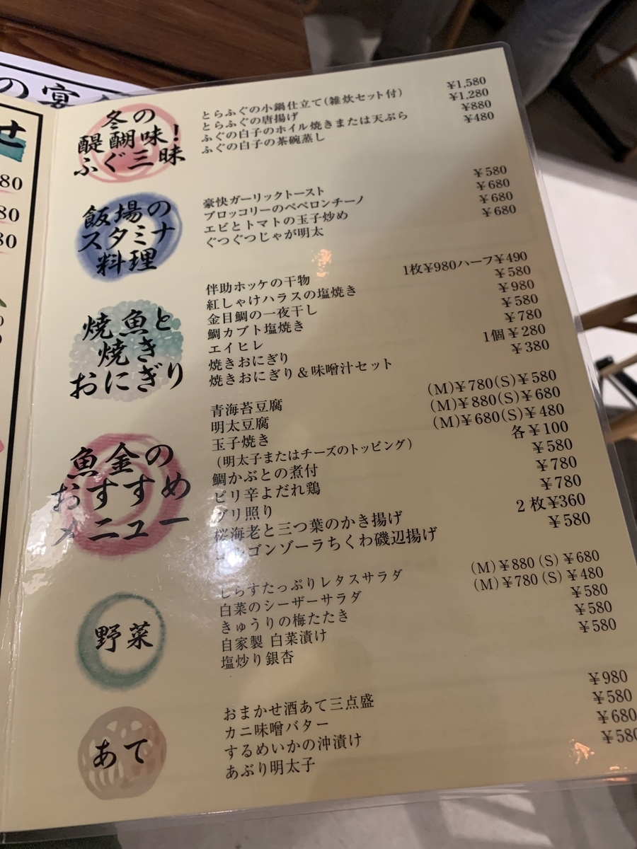 「飯場魚金(西新宿)」のおつまみメニュー
