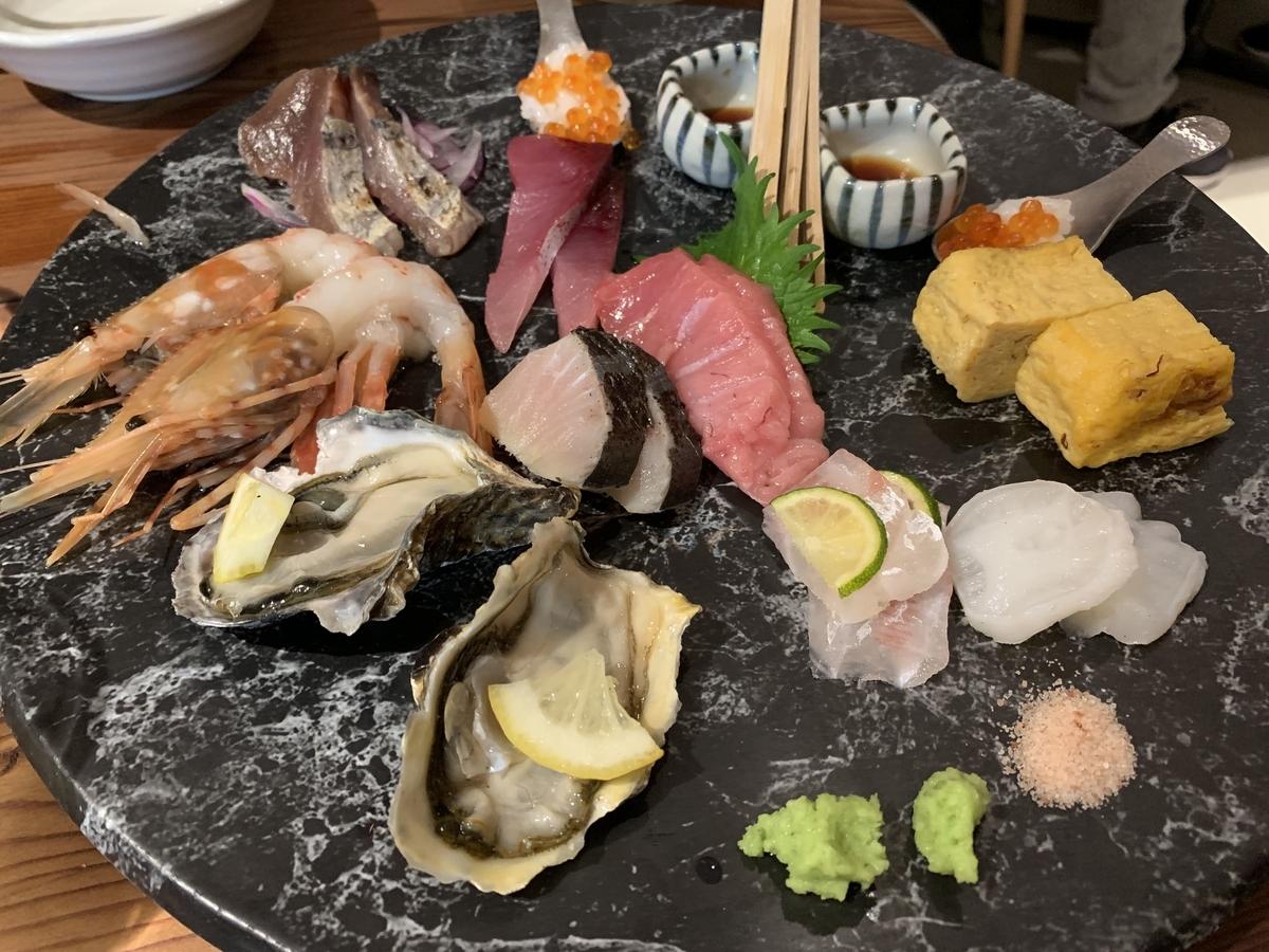 「飯場魚金」(西新宿)の名物メニュー「刺身盛り合わせ(玉手箱)」