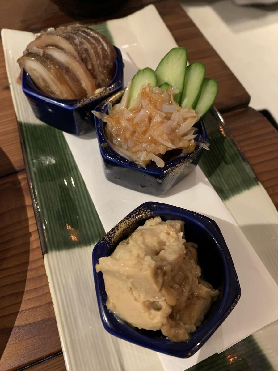 「飯場魚金(西新宿)」の日本酒にぴったりな「おまかせ酒あて3点盛り