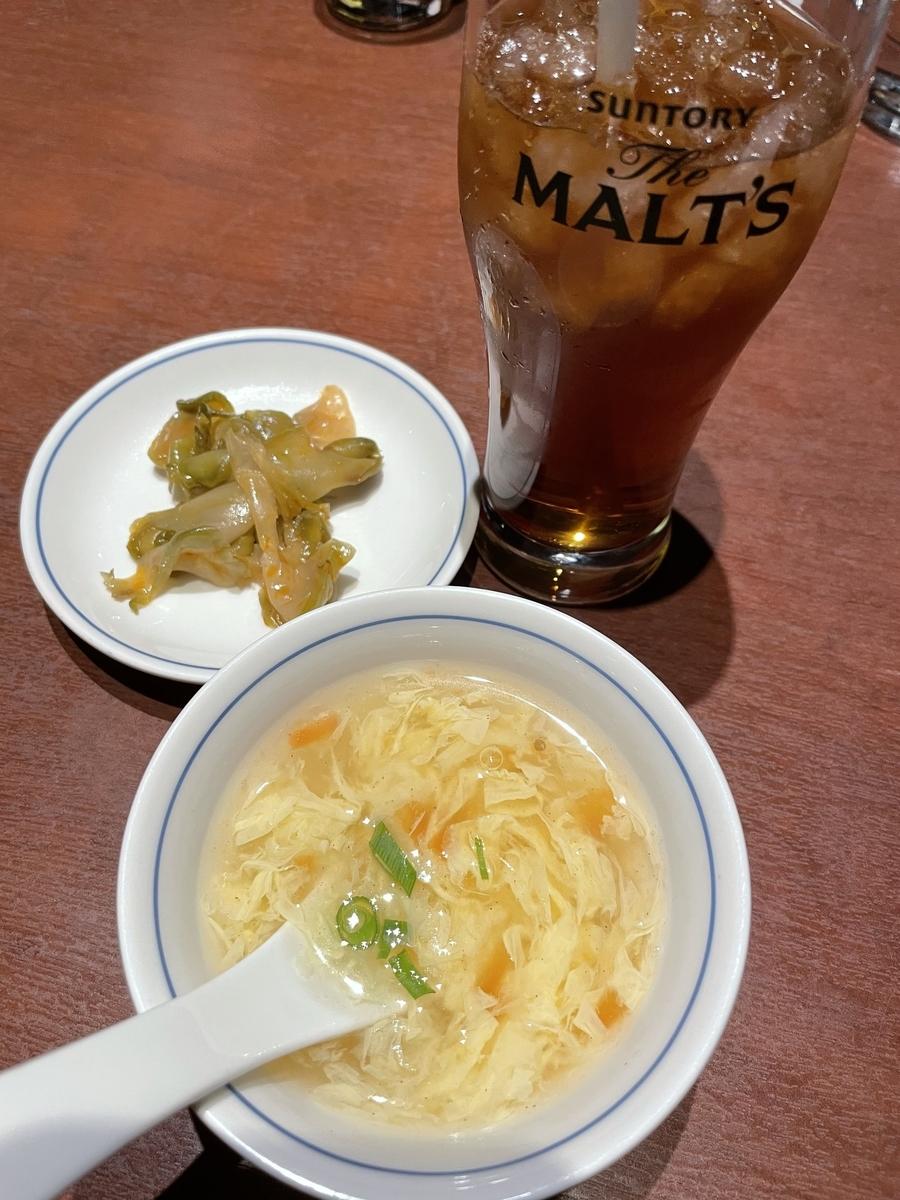 「陳麻婆豆腐 新宿野村ビル店」の「陳麻婆豆腐」のランチセットについていた、スープやドリンク、漬物