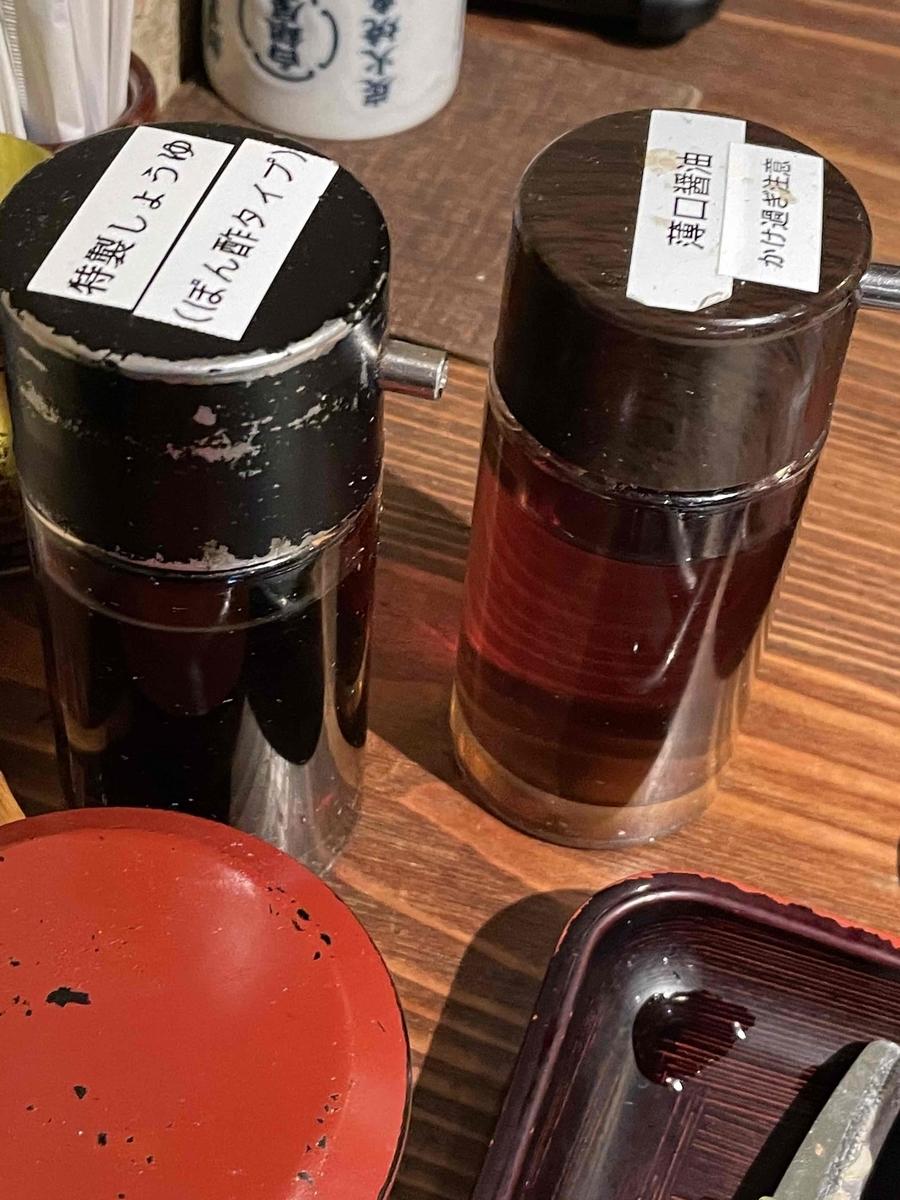 西新宿「炭火焼専門食処 白銀屋 西八の分店」の卓上にある醤油