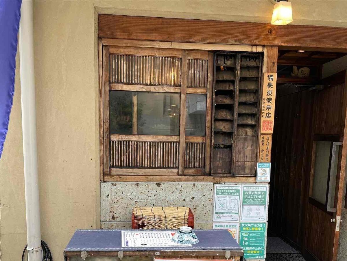 西新宿「炭火焼専門食処 白銀屋 西八の分店」お店の入り口