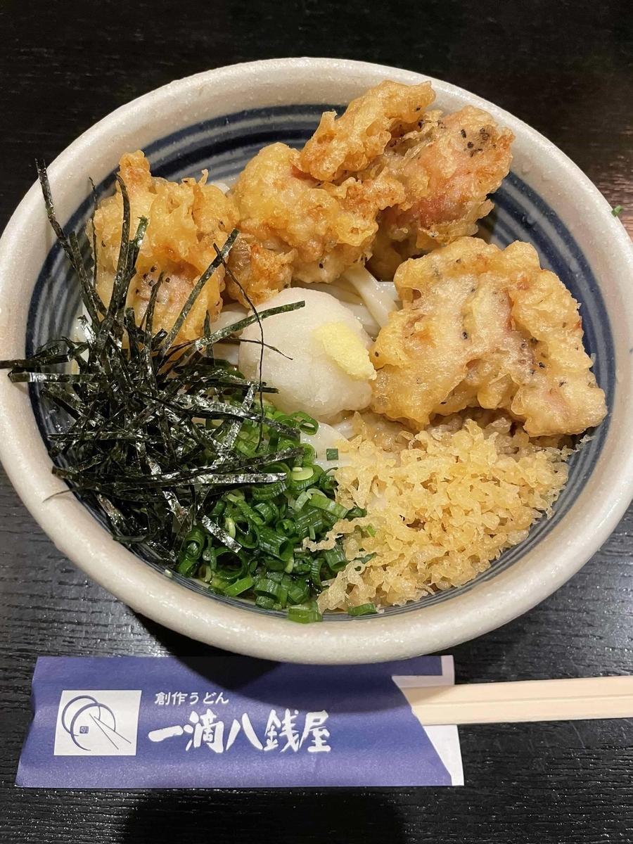 【西新宿】「一滴八銭屋 新宿本店」のとり天ぶっかけうどん