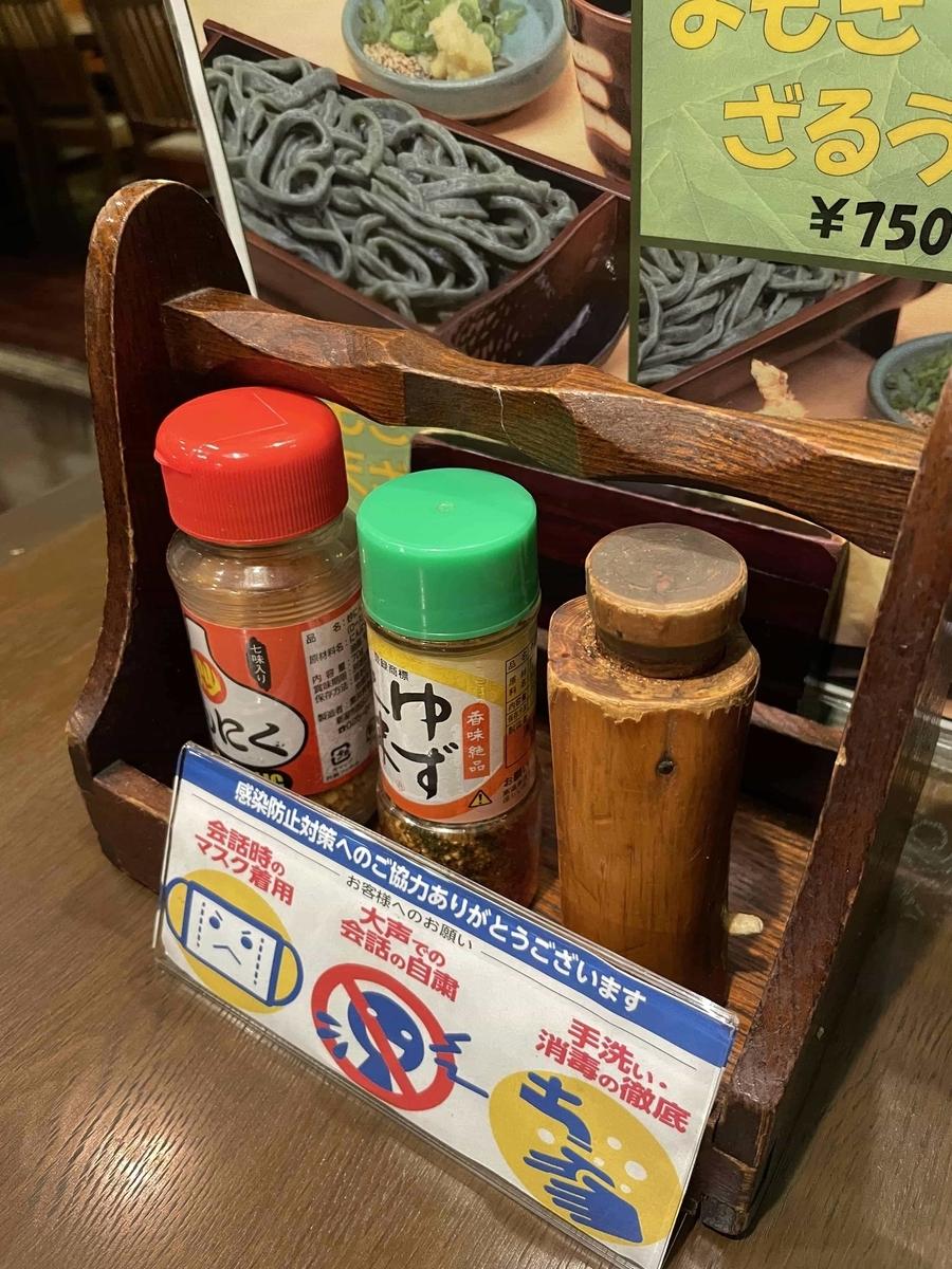 【西新宿】「三国一 アイランドイッツ店」の卓上調味料