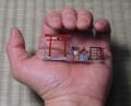 模型(1/150スケール)と掌との対比