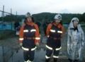 消防団での消防ポンプ操法の訓練