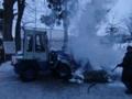 どんど焼き 消火作業