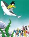 サメの背に乗って、海の宮から地上へと帰られる山幸彦様