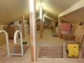 倉庫として利用出来るように改装した、授与所屋根裏