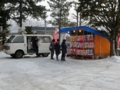 平成27年正月 西野神社境内での焼き芋・綿菓子販売