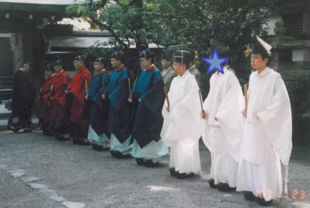 石清水八幡宮での神務実習(祭員奉仕)