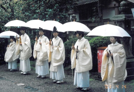 石清水八幡宮での神務実習(伶人奉仕)