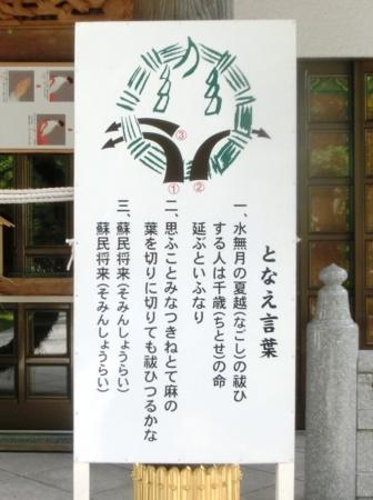 夏越大祓「となえ言葉」の看板