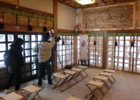 HBC「今日ドキッ!」 平成29年2月14日撮影風景(西野神社)