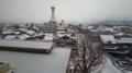 遠野市中心部の雪景色