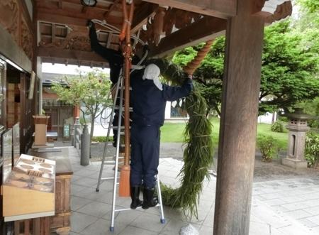 平成30年 西野神社夏越大祓「茅の輪」作成作業