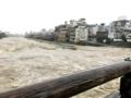 三条大橋から見た鴨川(平成30年7月 西日本豪雨)