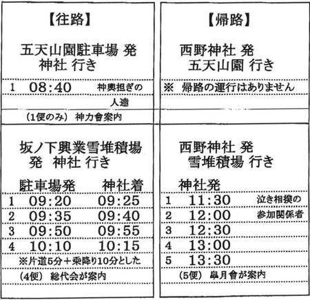 西野神社 秋まつり バス時刻表