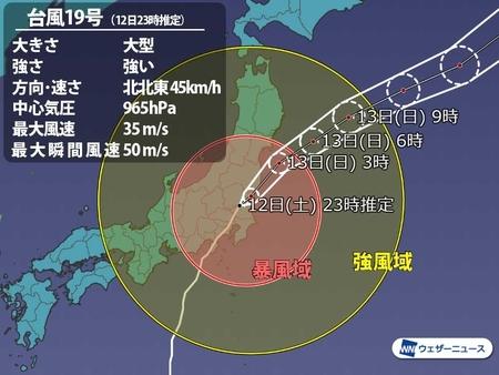 令和元年 台風19号 進路図