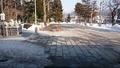 西野神社授与所窓口から見た、西野神社雪解けの風景