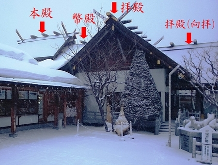 西野神社の社殿側面(位置関係説明)