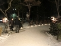 令和3年 西野神社元日 参道のアイスキャンドルと篝火