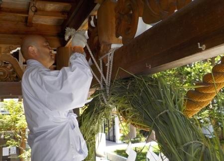 令和3年 西野神社 夏越大祓「茅の輪」設置作業