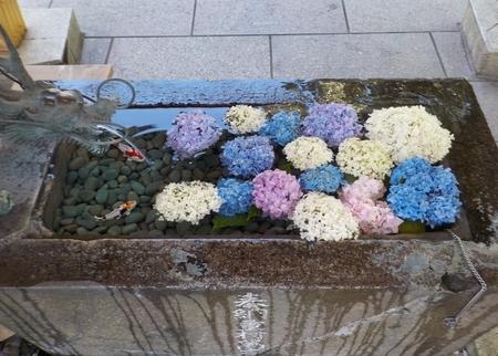 西野神社 花手水(令和3年7月)
