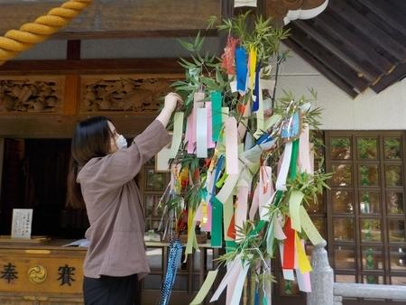 西野神社 拝殿向拝 七夕短冊