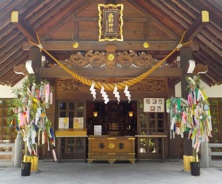 西野神社 拝殿向拝 青竹と短冊