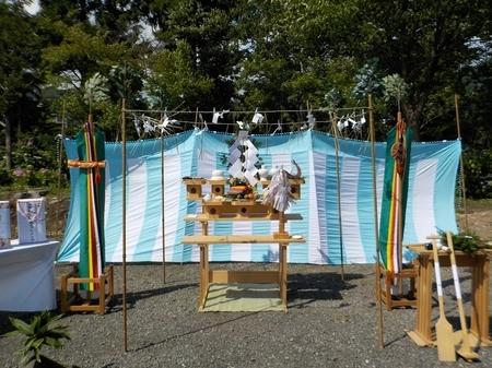 令和3年8月 西野神社参集殿 地鎮祭準備