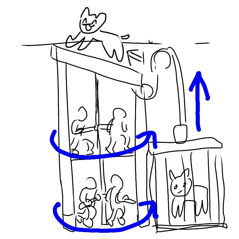 コロッセオのエレベーターシステムの図