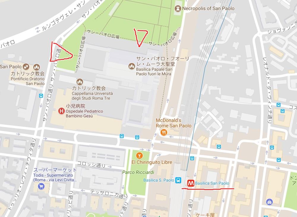 サン・パオロ・フォーリ・レ・ムーラ大聖堂の地図