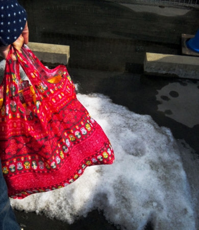 ジャスコ木曽川店駐車場残雪
