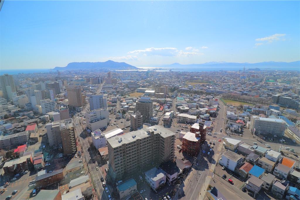 五稜郭タワーの展望台から見た函館市内の景色