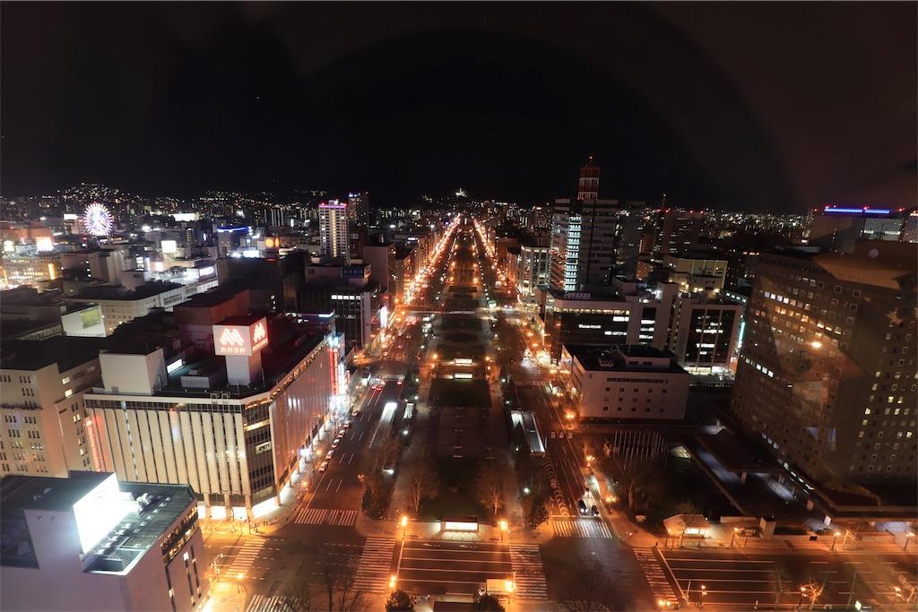 さっぽろテレビ塔からみた大通公園側の夜景