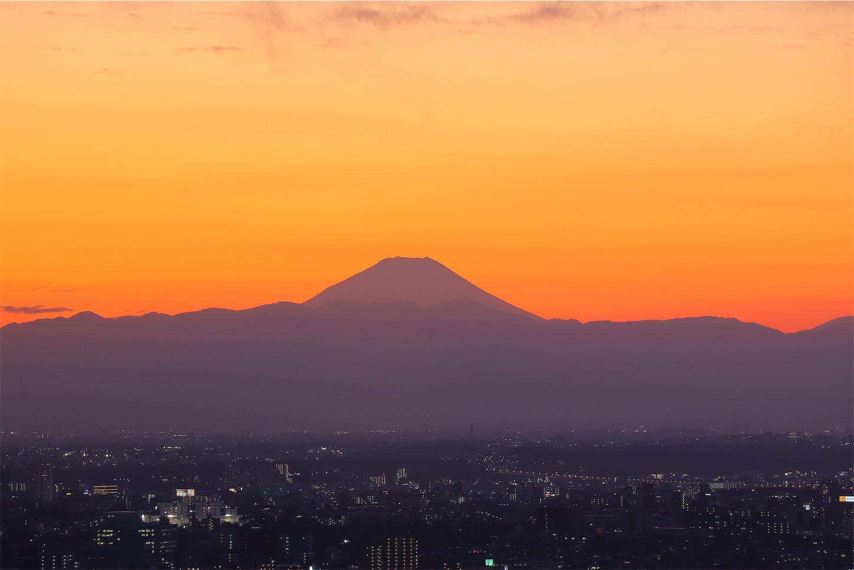 恵比寿ガーデンプレイスタワー 富士山 夕暮れ